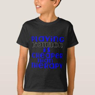 Playing Biathlon Cheaper Than Therapy T-Shirt