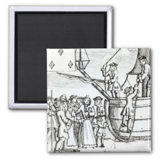 Playing card depicting immigrants arriving square magnet