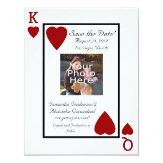 Playing Card King/Queen Photo Save the Date 11 Cm X 14 Cm Invitation Card