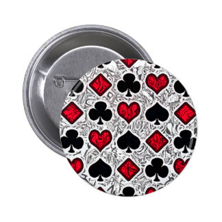 PLAYING CARD SUITS 6 CM ROUND BADGE