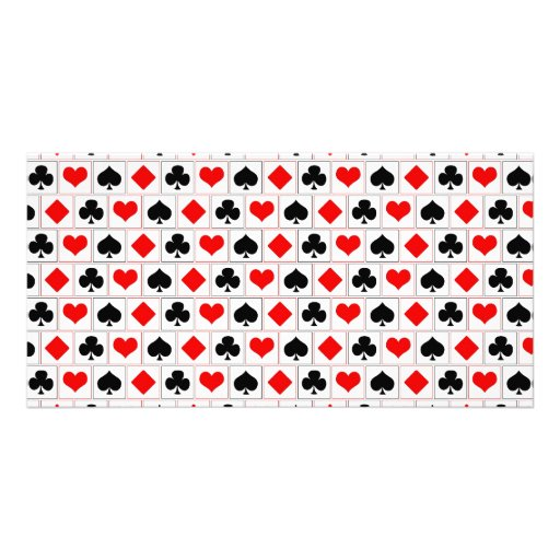 Playing card suits pattern photo card template
