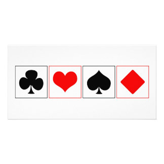 Playing card suits personalized photo card