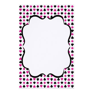 Playing Card Suits Pink and Black Stationery Paper
