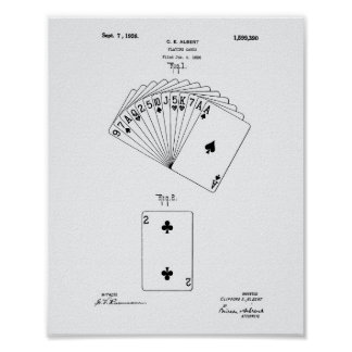 Playing Cards 1926 Patent Art White Paper Poster
