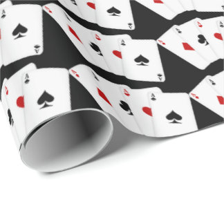 Playing cards aces gambling wrapping paper