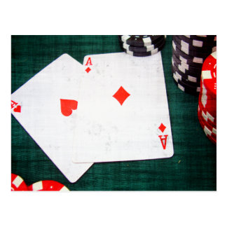 Playing Cards & Poker Chips Grunge Style Postcard