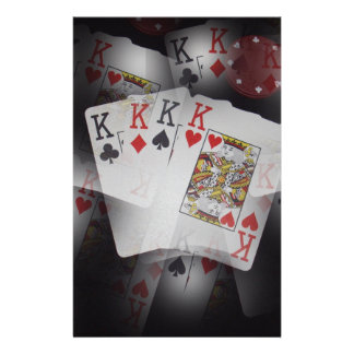 Playing Cards Quad Kings Layered Pattern,