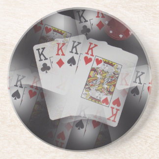 Playing Cards Quad Kings Layered Pattern, Coaster