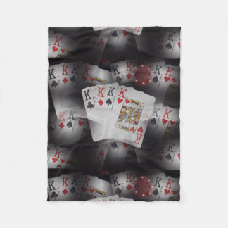 Playing Cards Quad Kings Layered Pattern, Fleece Blanket