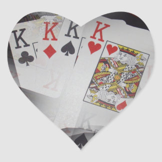Playing Cards Quad Kings Layered Pattern, Heart Sticker