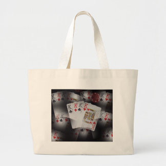 Playing Cards Quad Kings Layered Pattern, Large Tote Bag