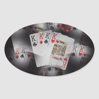 Playing Cards Quad Kings Layered Pattern, Oval Sticker