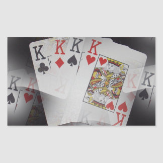 Playing Cards Quad Kings Layered Pattern, Rectangular Sticker