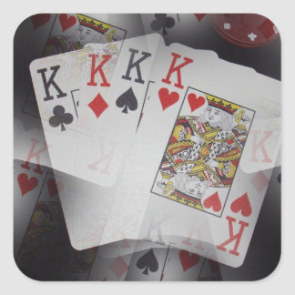 Playing Cards Quad Kings Layered Pattern, Square Sticker