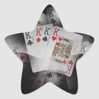Playing Cards Quad Kings Layered Pattern, Star Sticker