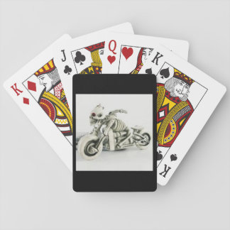 Playing Cards with Ivory Skeleton Motorcycle