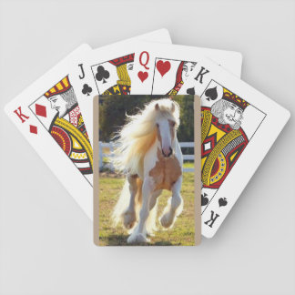 playing cards with long maned horse