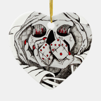 playing dice with the reaper ceramic heart decoration