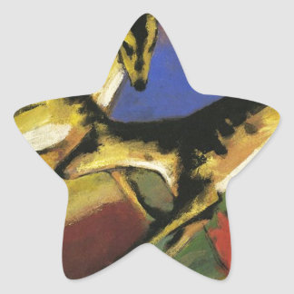 Playing Dogs by Franz Marc Star Sticker