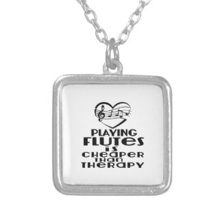 Playing Flutes Is Cheaper Than Therapy Silver Plated Necklace