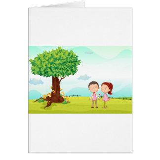 playing kids greeting card