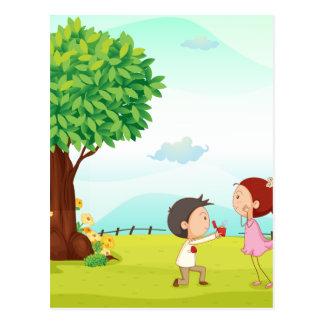playing kids postcard