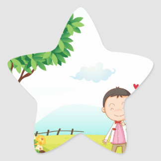 playing kids star sticker