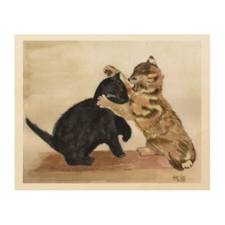 Playing Kittens Painting Wood Print