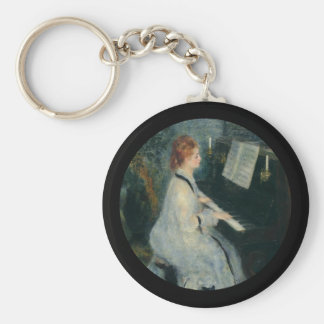 Playing Piano by Candlelight Basic Round Button Key Ring