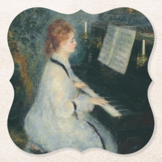 Playing Piano by Candlelight Paper Coaster