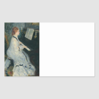 Playing Piano by Candlelight Rectangular Sticker