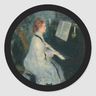Playing Piano by Candlelight Round Sticker