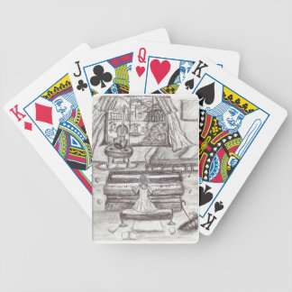 Playing piano on a rainy day bicycle playing cards