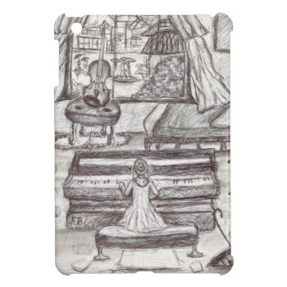 Playing piano on a rainy day iPad mini cover