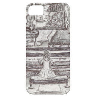Playing piano on a rainy day iPhone 5 cover