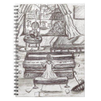 Playing piano on a rainy day notebook