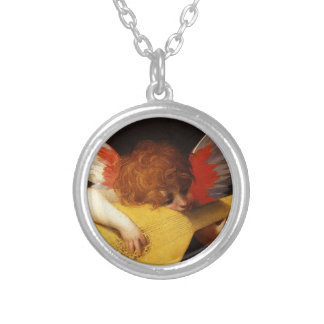 Playing putto (Musician Angel) by Rosso Fiorentino Round Pendant Necklace