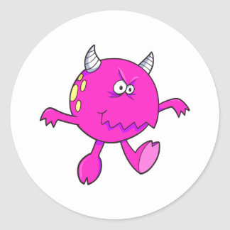 playing tough pink monster friend round sticker