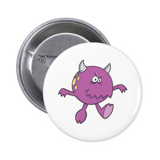 playing tough purple monster friend pinback button