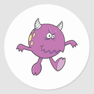 playing tough purple monster friend round stickers