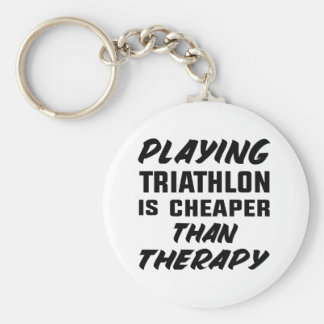 Playing Triathlon is cheaper than therapy Key Ring