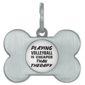 Playing Volleyball is cheaper than therapy Pet ID Tag