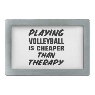 Playing Volleyball is cheaper than therapy Rectangular Belt Buckle