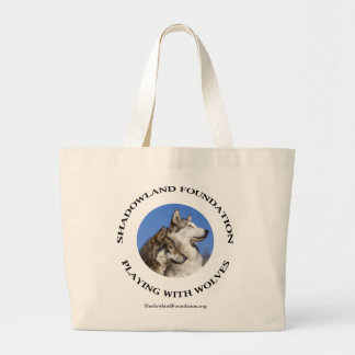 Playing with Wolves Large Tote Bag