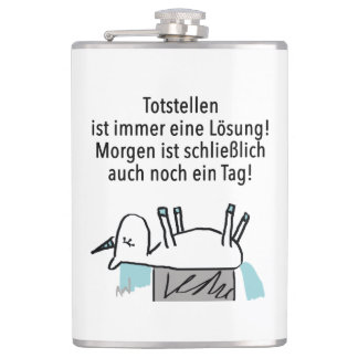 Plays dead always is a solution - flat man hip flask