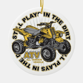 Plays in the Dirt ATV Ceramic Ornament