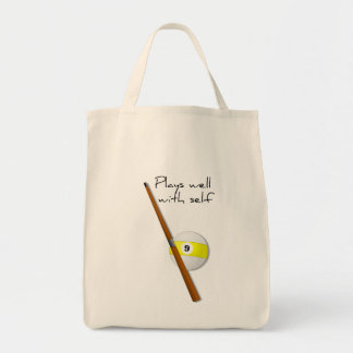 Plays Well, Funny Saying Grocery Tote Canvas Bags