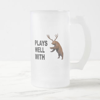 Plays Well With Beer Frosted Glass Beer Mug