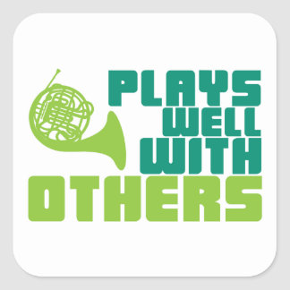 Plays Well with Others - Horn Square Sticker