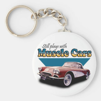 Plays with Muscle Cars Basic Round Button Key Ring